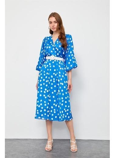 Setre Mavi Puantiyeli V Yaka Elbise Mavi